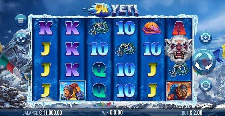 9k yeti slot screen