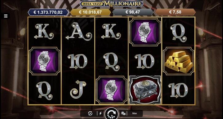 mega vault millionaire slot screen