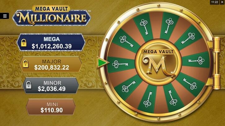 mega vault millionaire slot wheel