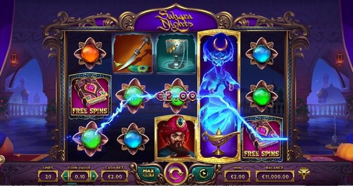 sahara nights slot screen