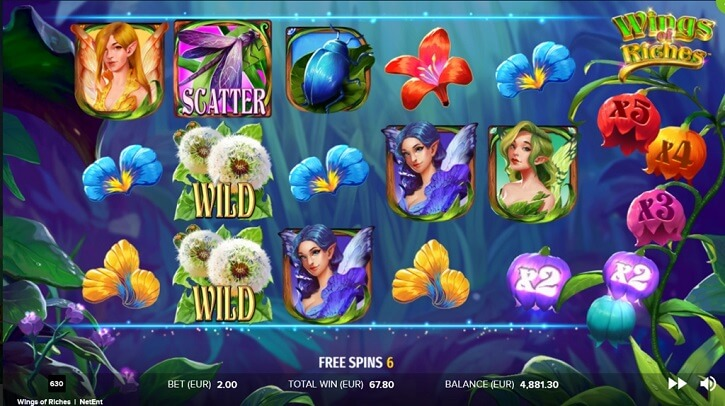 wings of riches slot screen