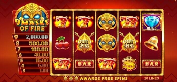 9 masks of fire slot screen