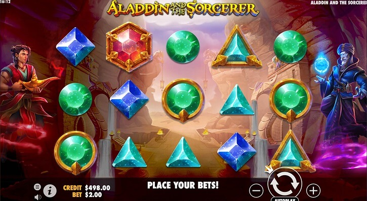 aladdin and the sorcerer slot screen