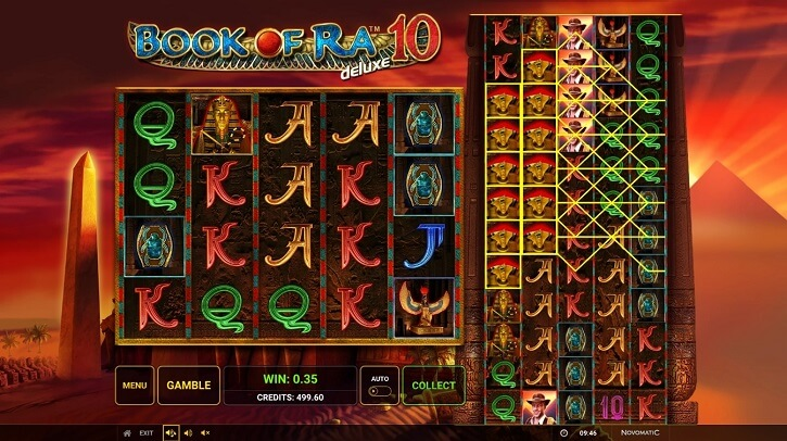book of ra deluxe 10 slot screen
