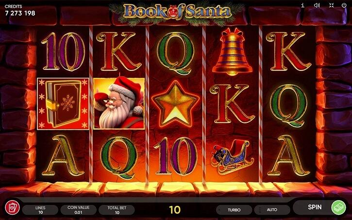 book of santa slot screen