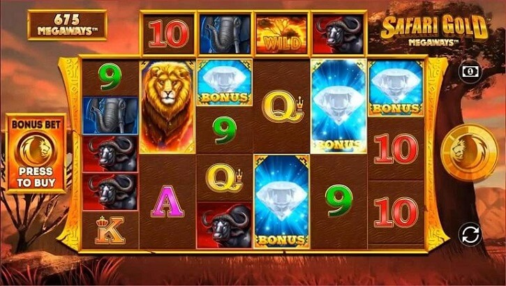 safari gold megaways slot screen