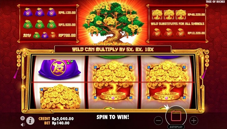 tree of riches slot screen