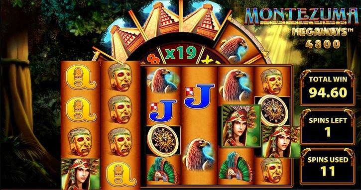 montezuma megaways slot screen