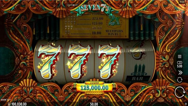seven 7s slot screen
