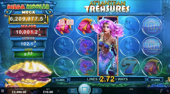 atlantean treasures mega moolah slot screen