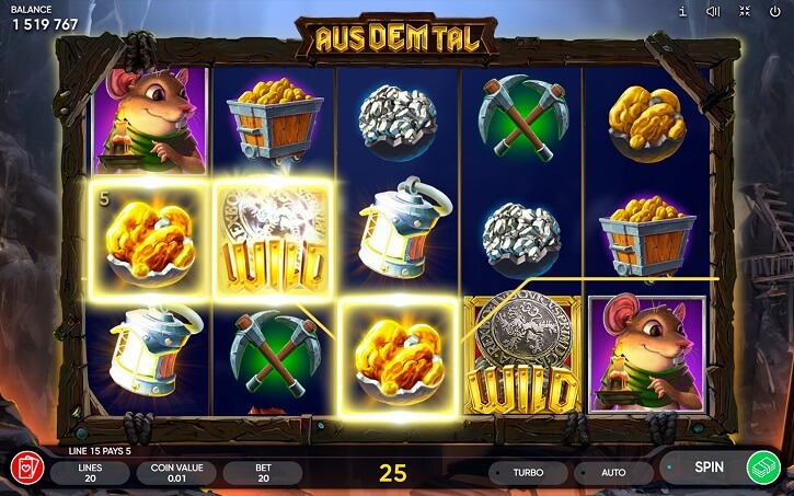 aus dem tal slot screen