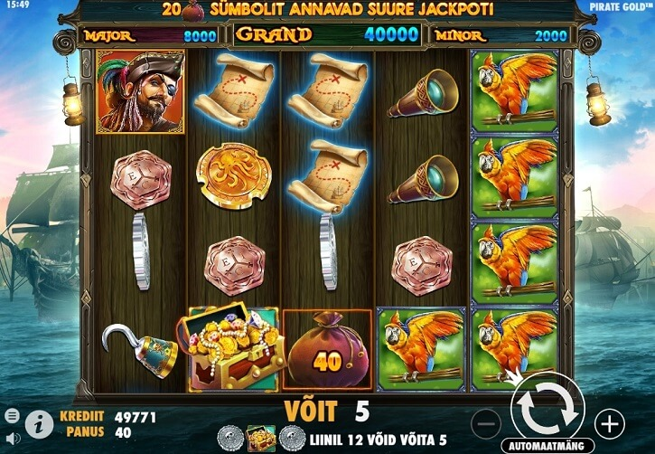 pirate gold slot screen
