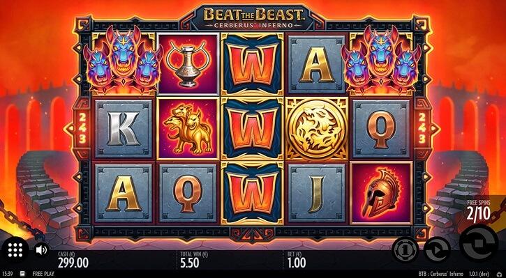 beat the beast cerberus inferno slot screen