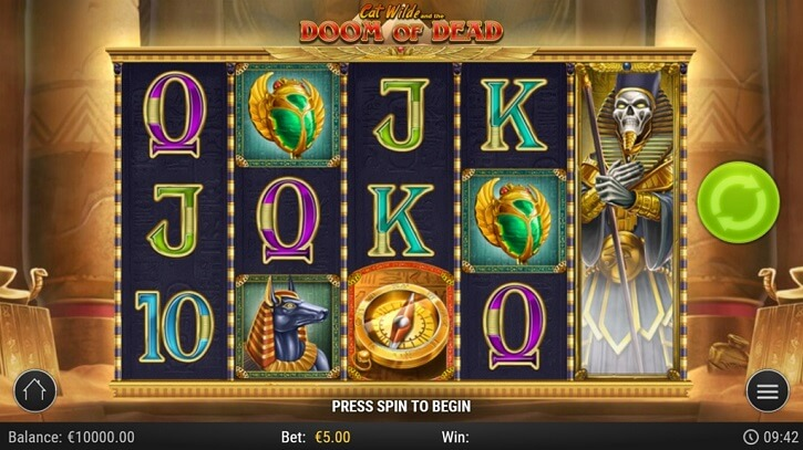 cat wilde and the book doom of dead slot screen