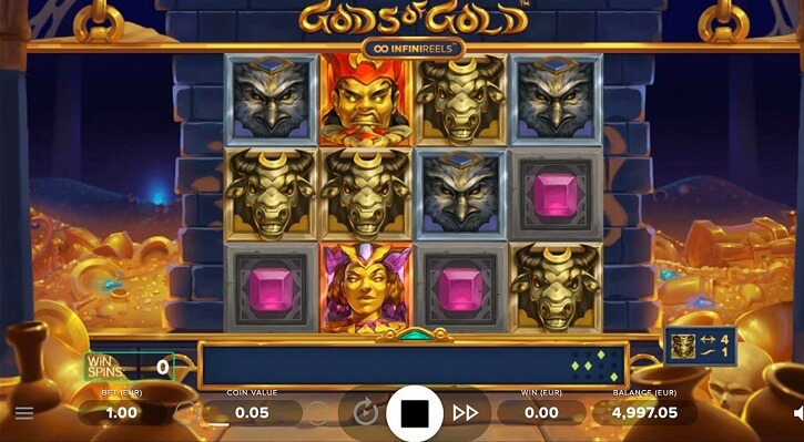 gods of gold infinireels slot screen