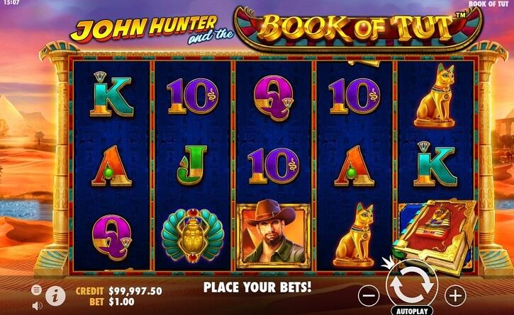 john hunter and the book of tut slot screen