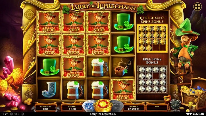 larry the leprechaun slot screen