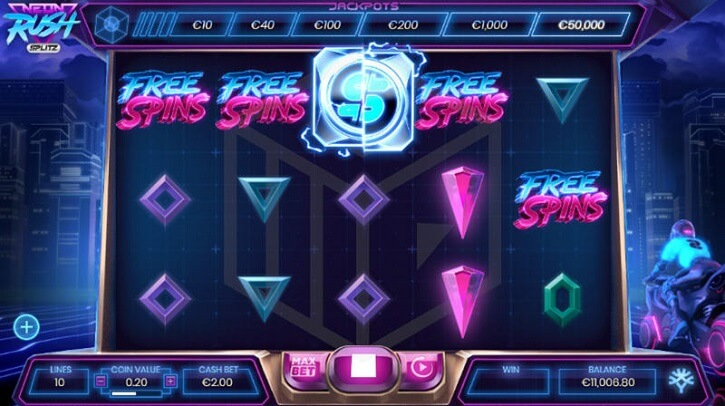 neon rush splitz slot screen