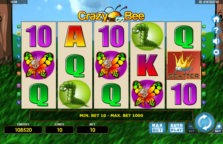 crazy bee slot screen
