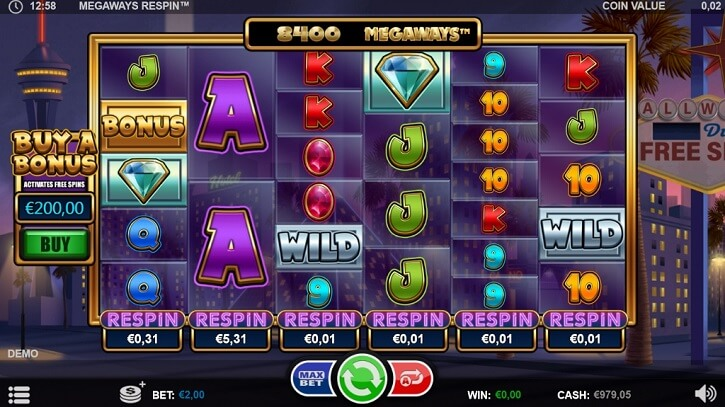 megaways respin slot screen