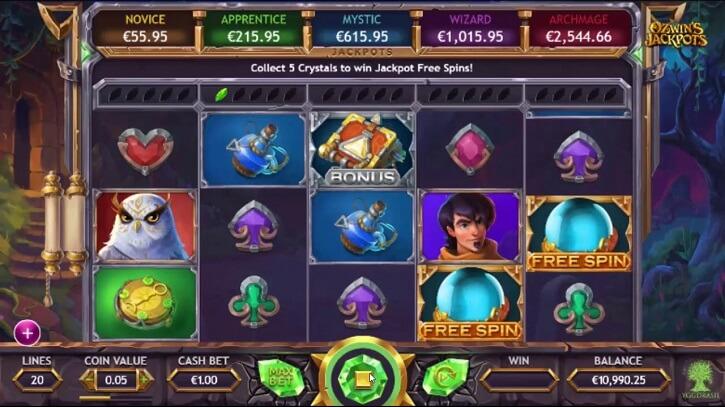ozwin's jackpot slot screen