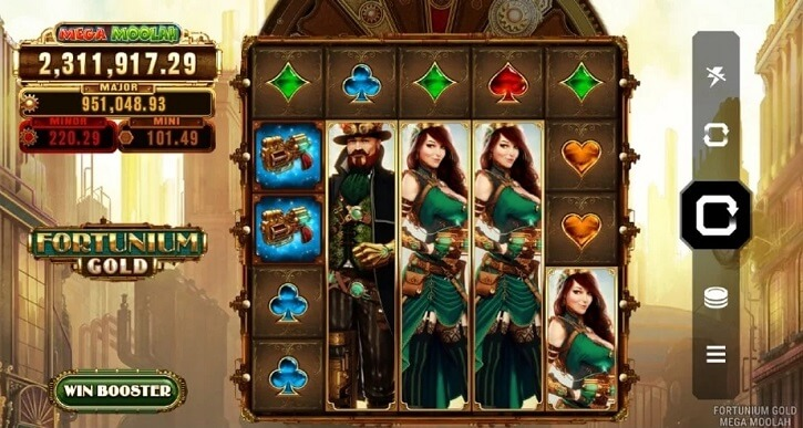 fortunium gold mega moolah slot screen