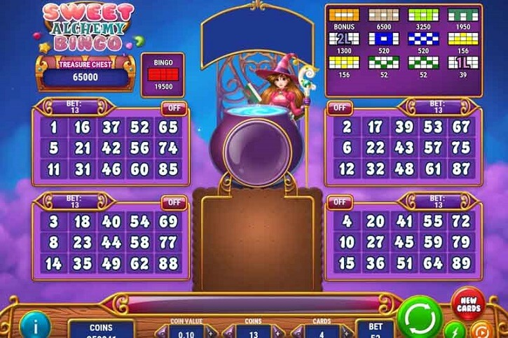 sweet alchemy bingo slot screen