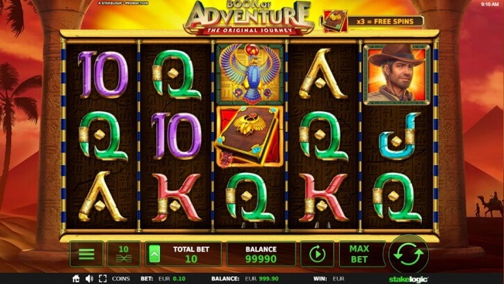 book of adventure slot screen