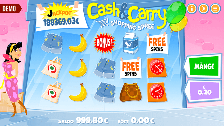 cash and carry shopping spree slot screen