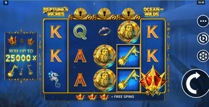 neptunes riches slot screen