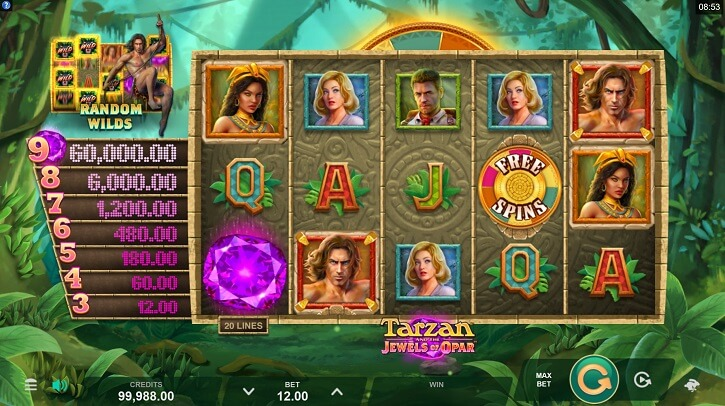 tarzan and the jewels of opar slot screen